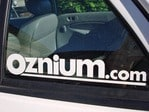 Oznium.com Vinyl Decal 10x2 on my Escort