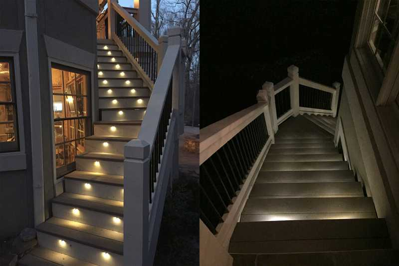 Outdoor stair lighting with 32 Warm White LED Side View Bolts