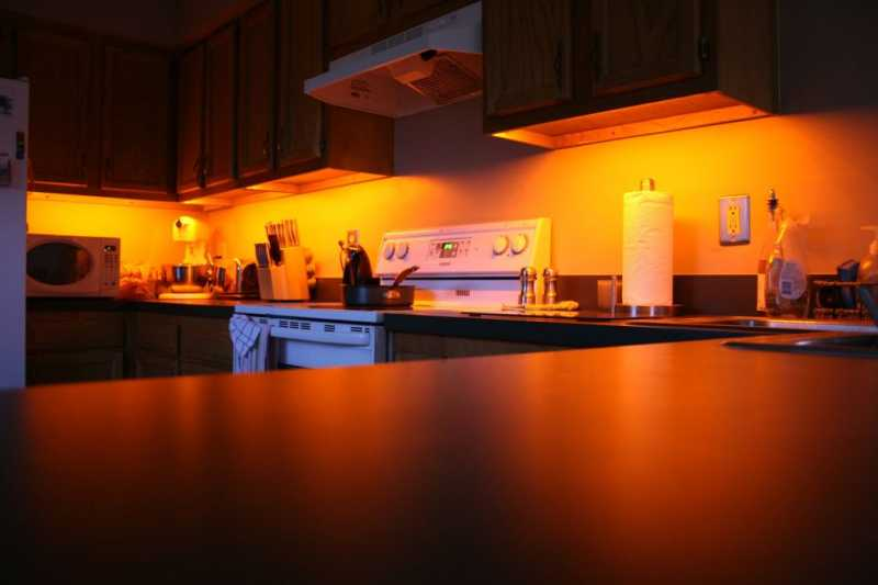 Amber Orange LED under cabinet lights