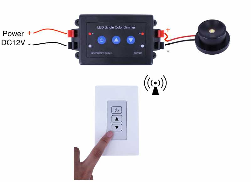 Wireless Rf Remote Wall Mount Led Dimmer Switch