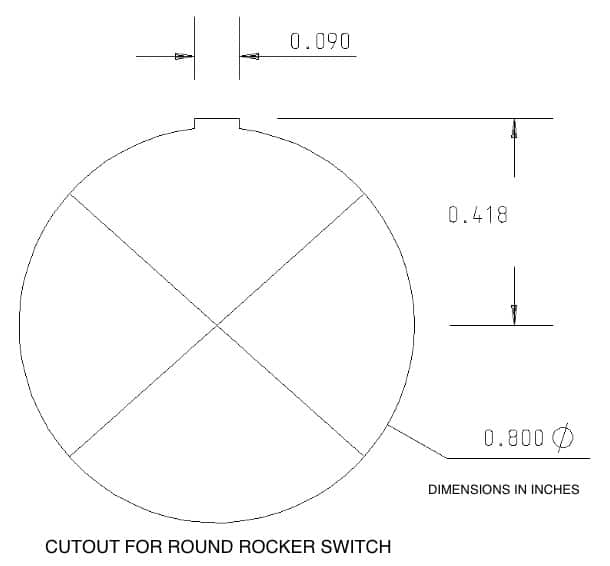 LED Round Rocker Switch Hole Size Panel Cut Out